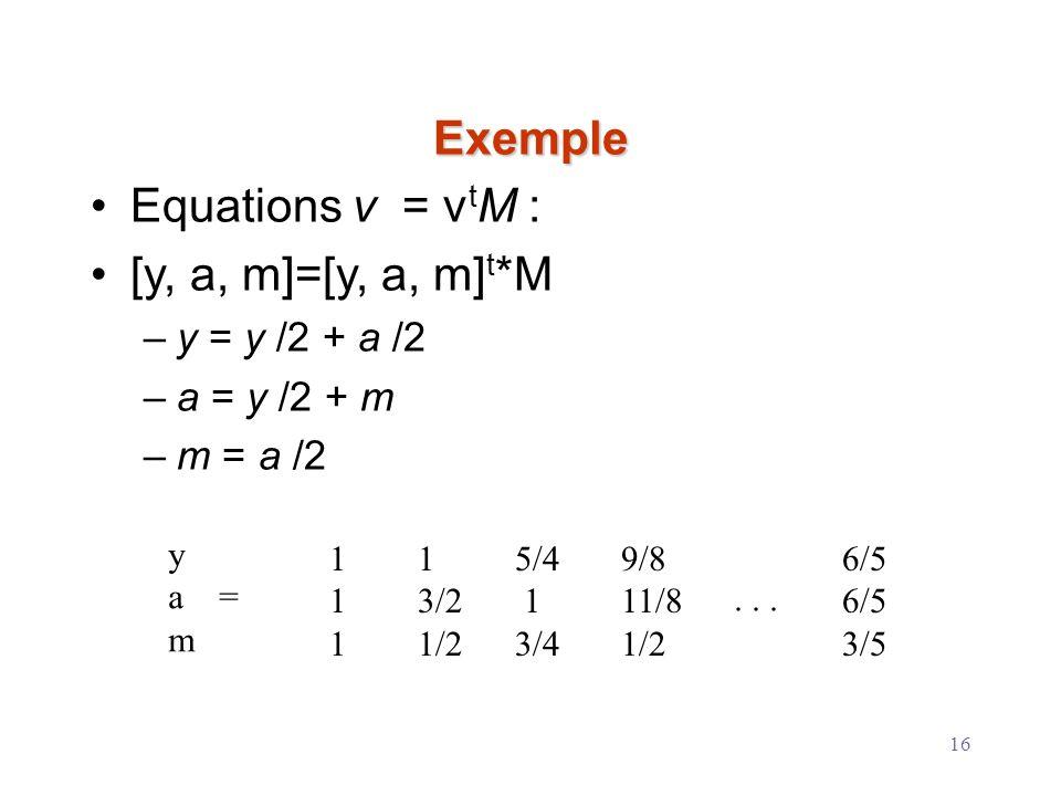 Exemple Equations v = vtM : [y, a, m]=[y, a, m]t*M y = y /2 + a /2